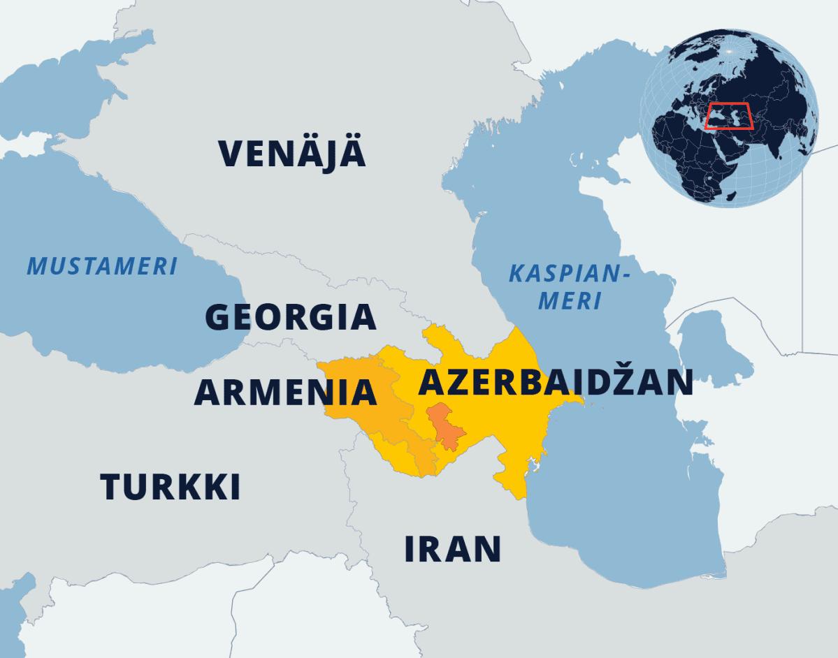 Kartta Azerbaidžanin ja Armenian sijainnista.
