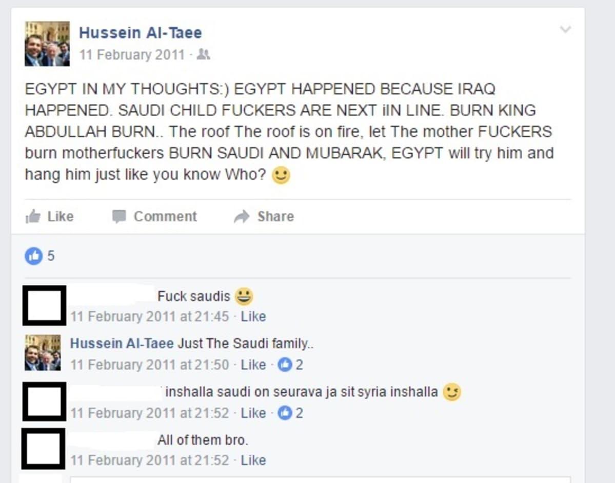Kuvakaappaus Hussein al-Taeen kirjoituksista vuodelta 2011.