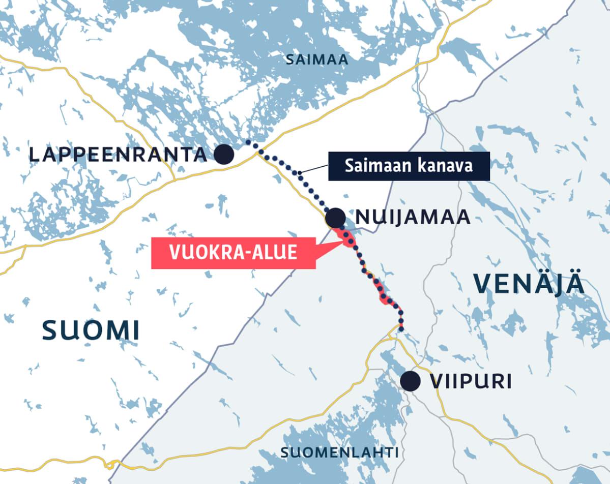 Karttagrafiikka Saimaan kanavan alueesta