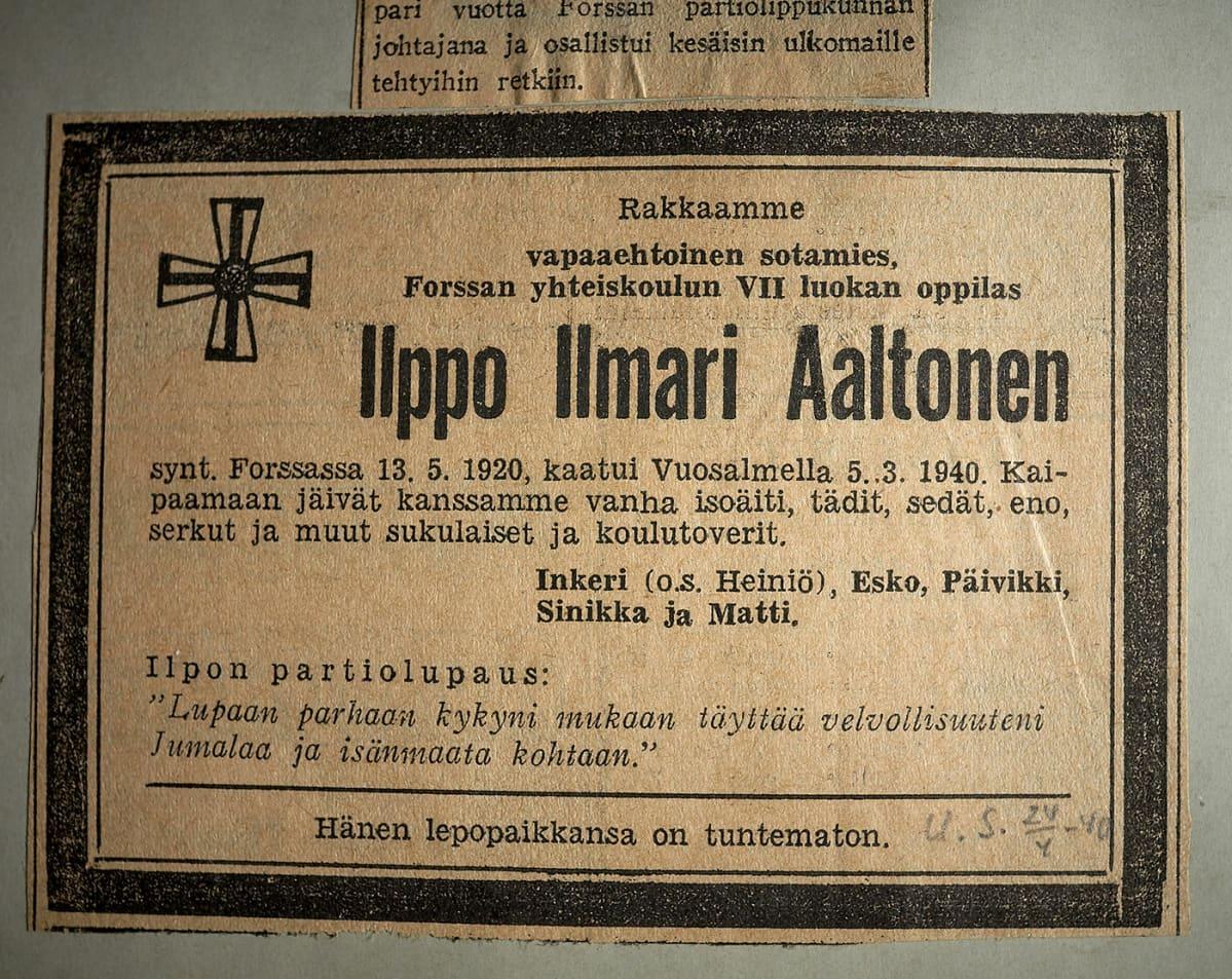 Ilppo Ilmari Aaltosen kuolinilmoitus
