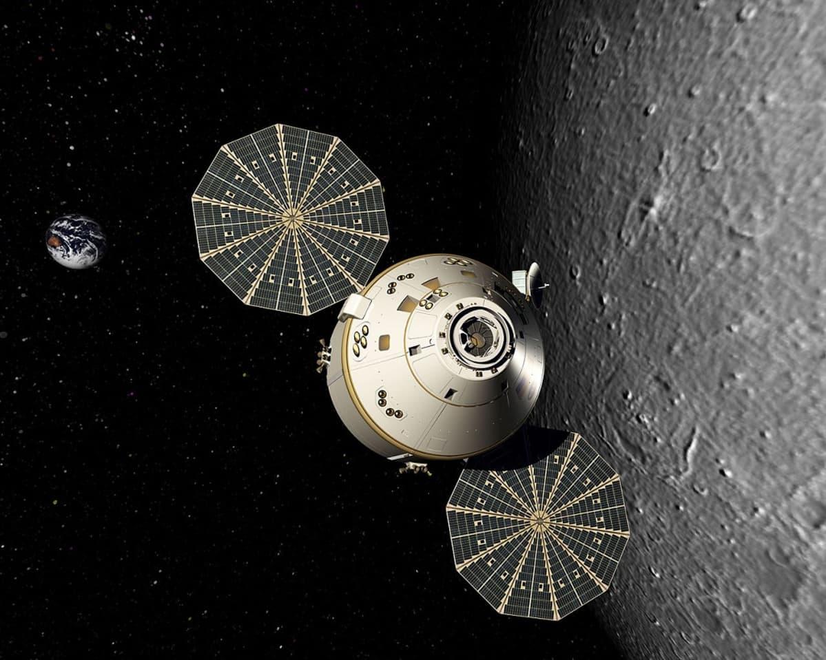 Piirroskuva avaruuskapselista Kuun pinnan yläpuolella. Avaruudessa paistaa maapallo.