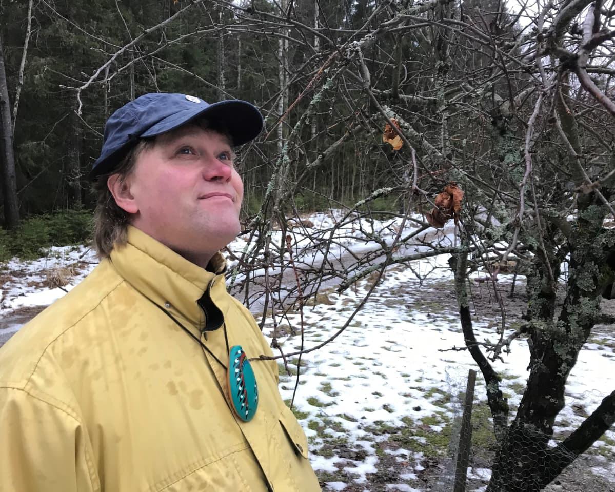 Suomen Luonnonsuojeluliton etelä-Hämeen aluesihteeri Karri Jutila kuuntelee lintuja pihapuun äärelllä.