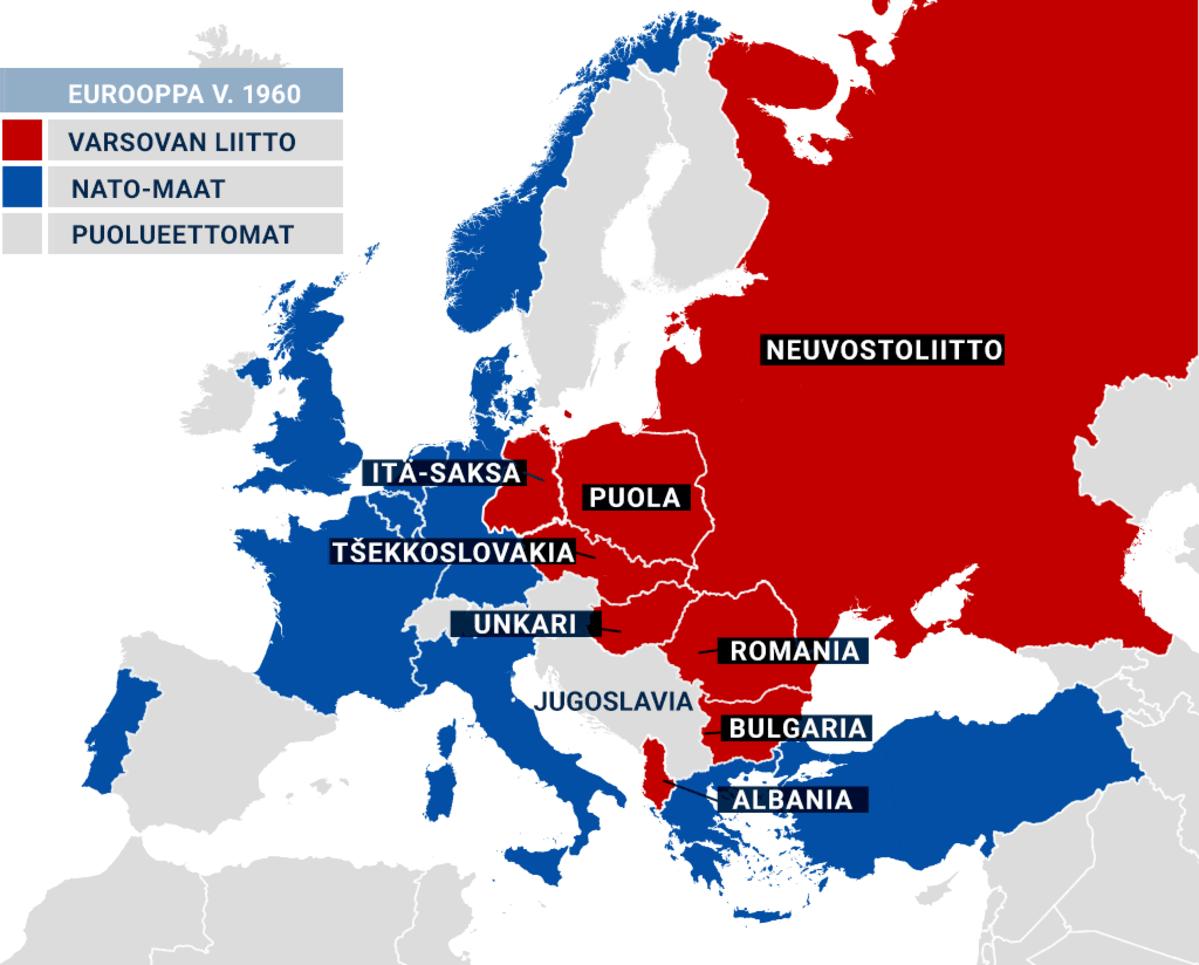 Varsovan liitto, Nato-maat ja puolueettomat maat Euroopassa vuonna 1960