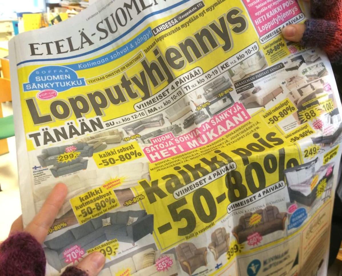 sanomalehti huonekalumainos