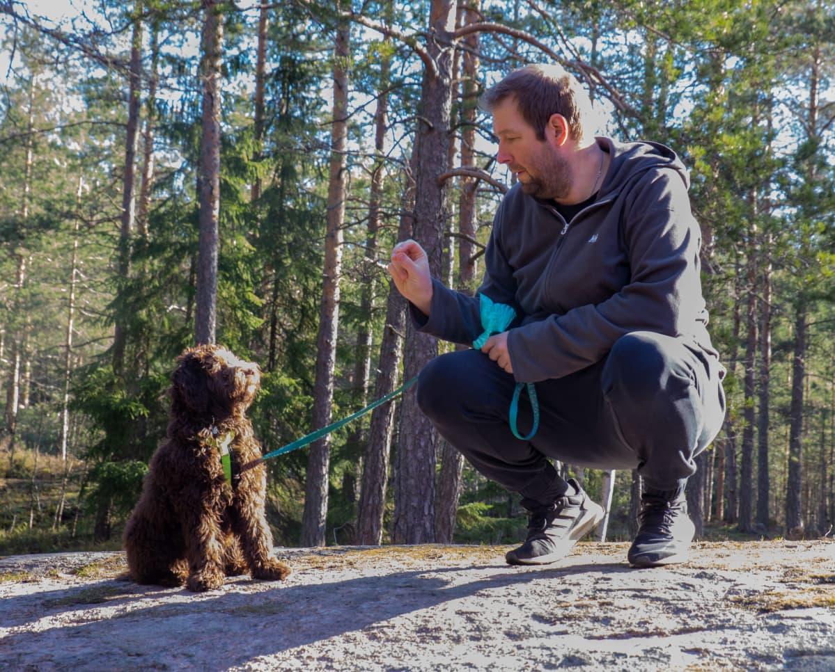 Teemu Lepola ja Rico (australian labradoodle, 5 kk) Kuninkaantammen kallioilla.