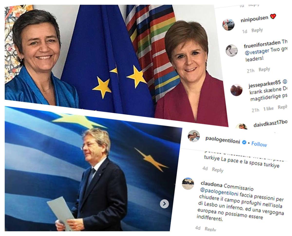 Kuvakollaasi europarlamentaarikoiden vestagerin ja paologentilonin Instagram-päivityksistä.