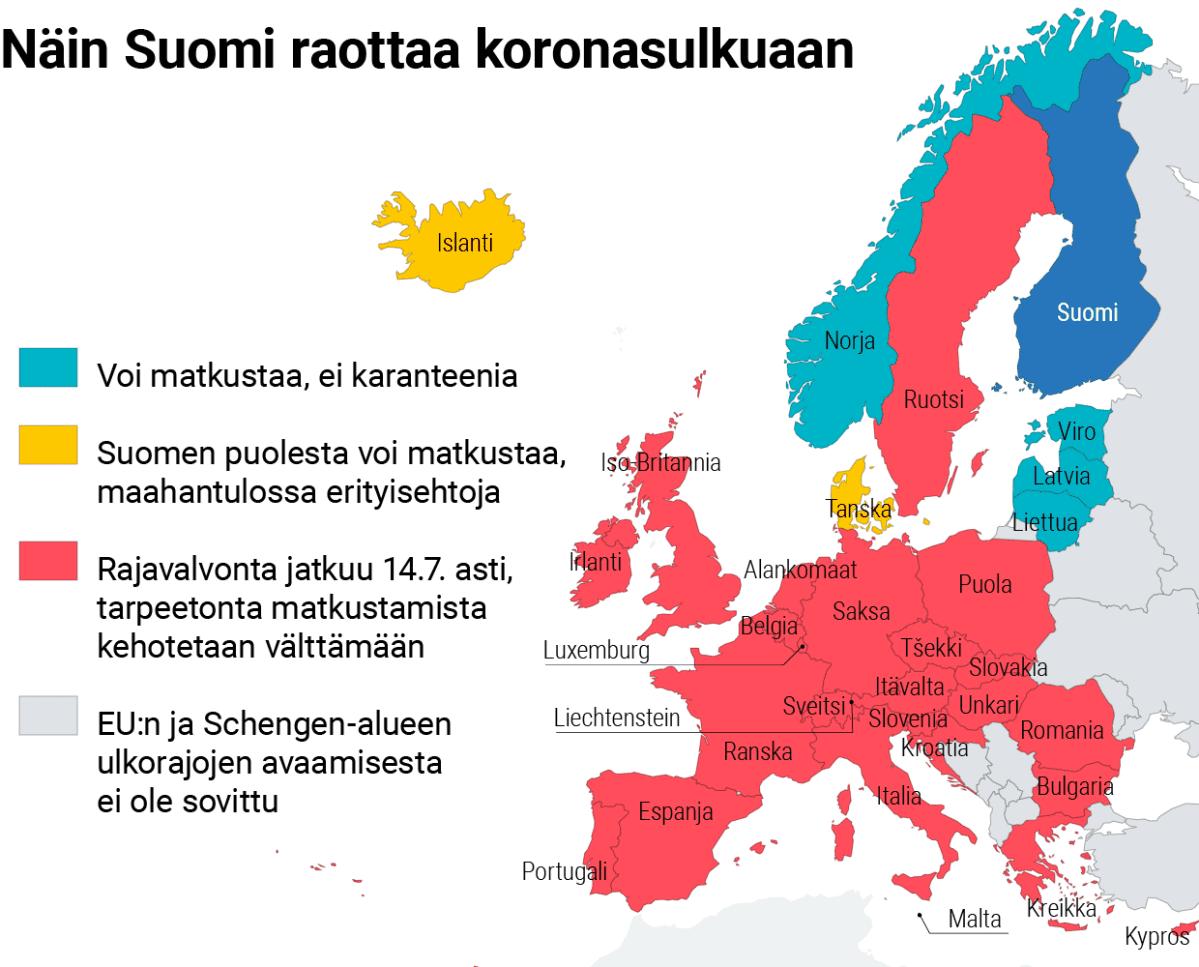 Infokartta koronasuluista Euroopassa.