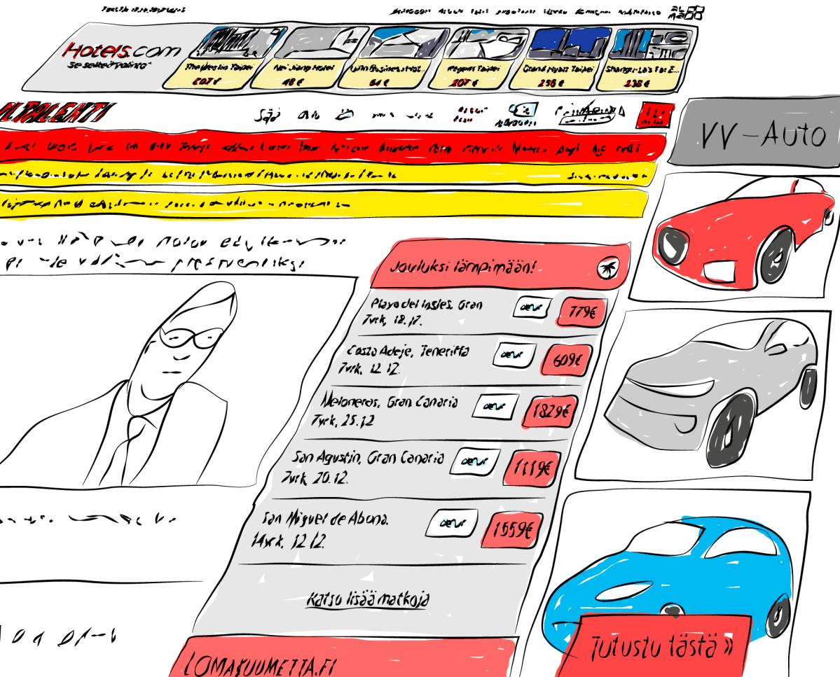 Iltalehden sivulla mainoksia -piirros