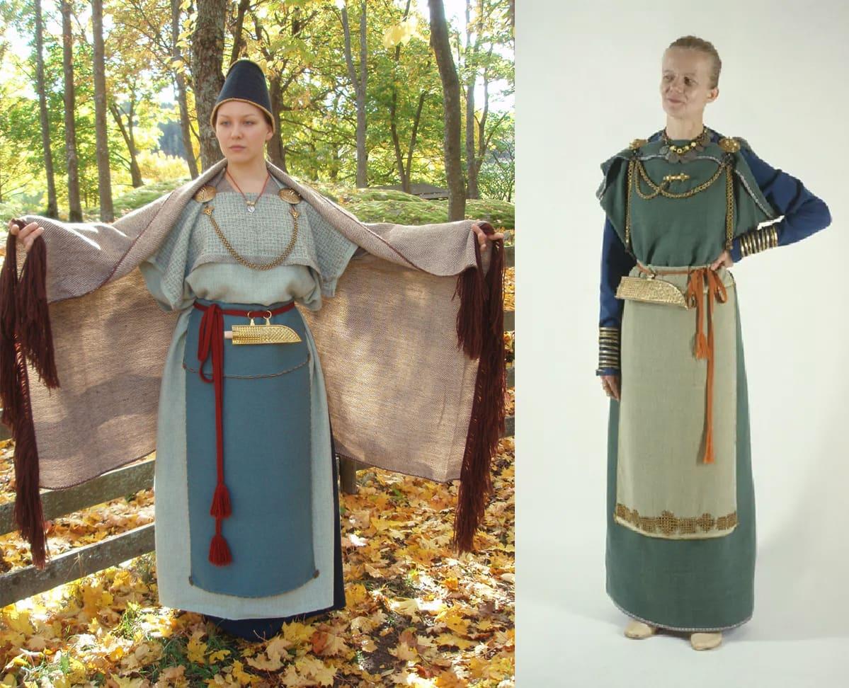 Yhdistelmäkuva kahdesta muinaispuvusta kahden naisen yllä. Toinen seisoo syyslehtien keskellä, toinen on kuvattu studiossa.