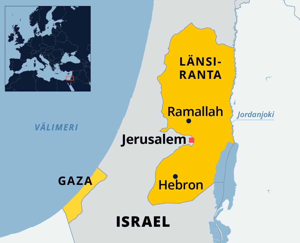 Kartassa Israel, Länsiranta ja Gaza.