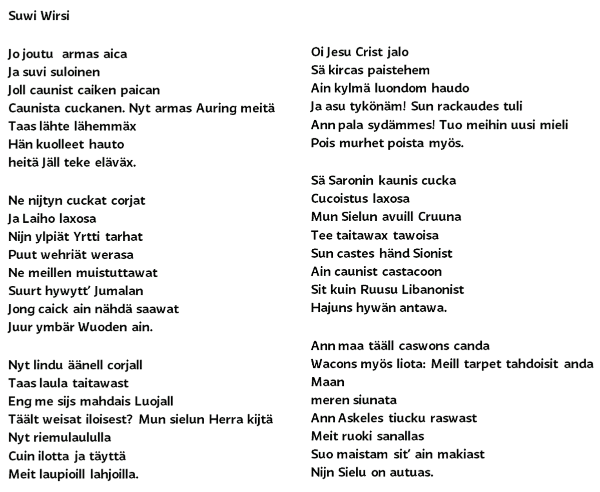 Suvivirren sanat vuodelta 1700