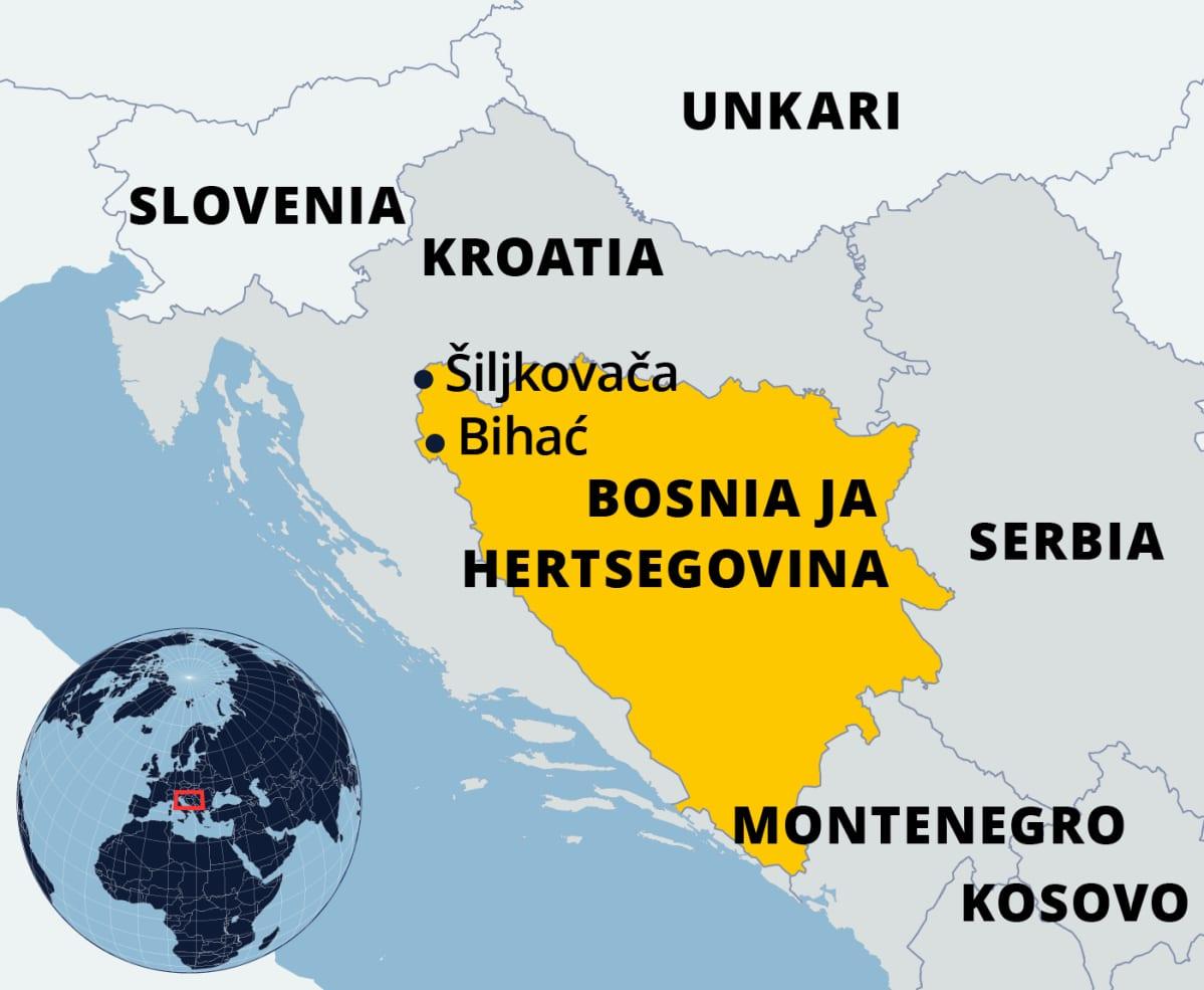 Kartta Bosnia-Hertsegovinasta