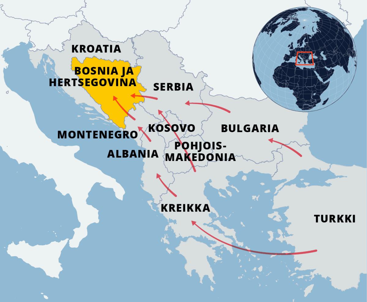 Kartta pakolaisreiteistä turkista Bosnia-Hertsegovinaan.