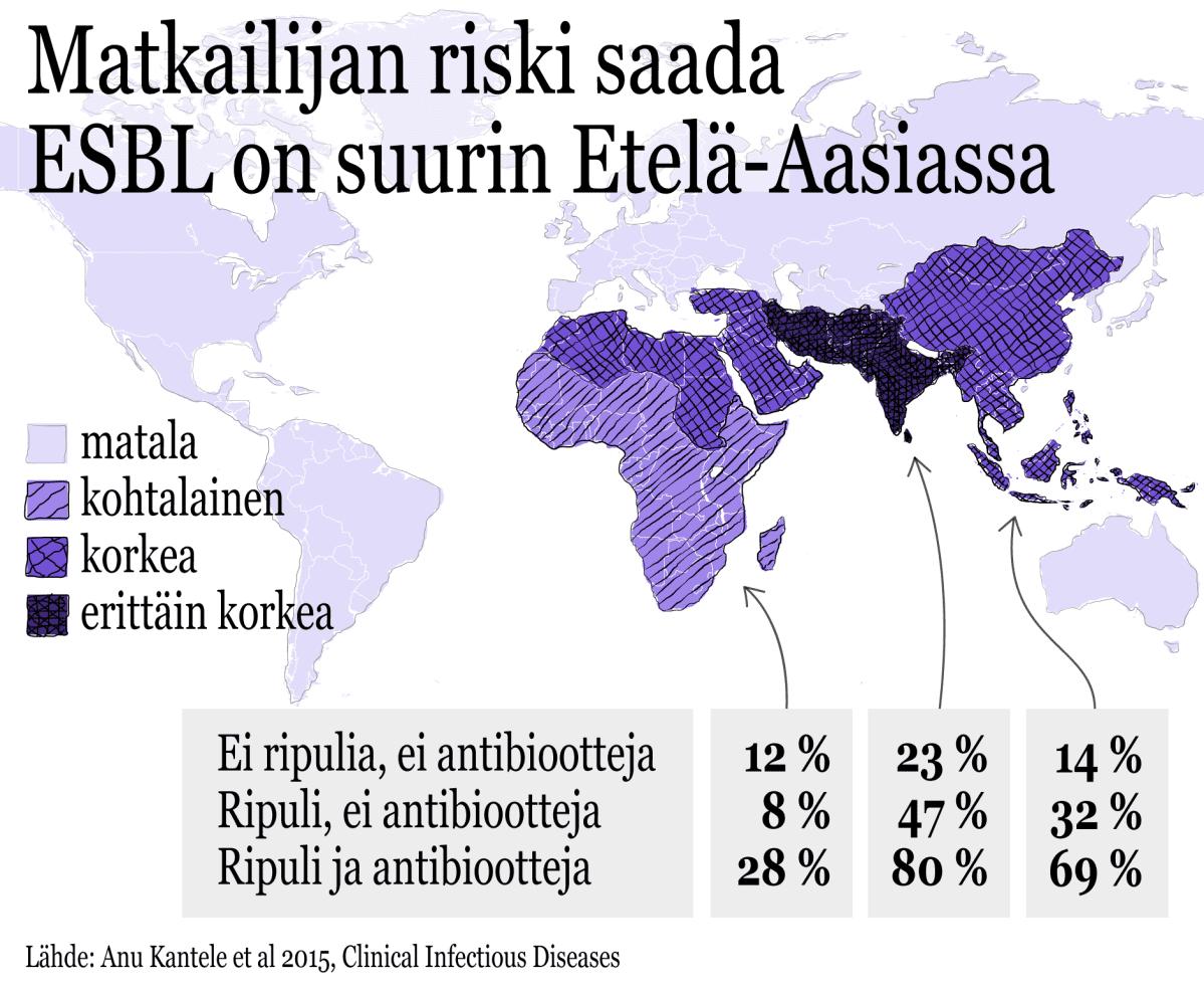 Matkailijan riski saada ESBL on suurin Etelä-Aasiassa -kartta