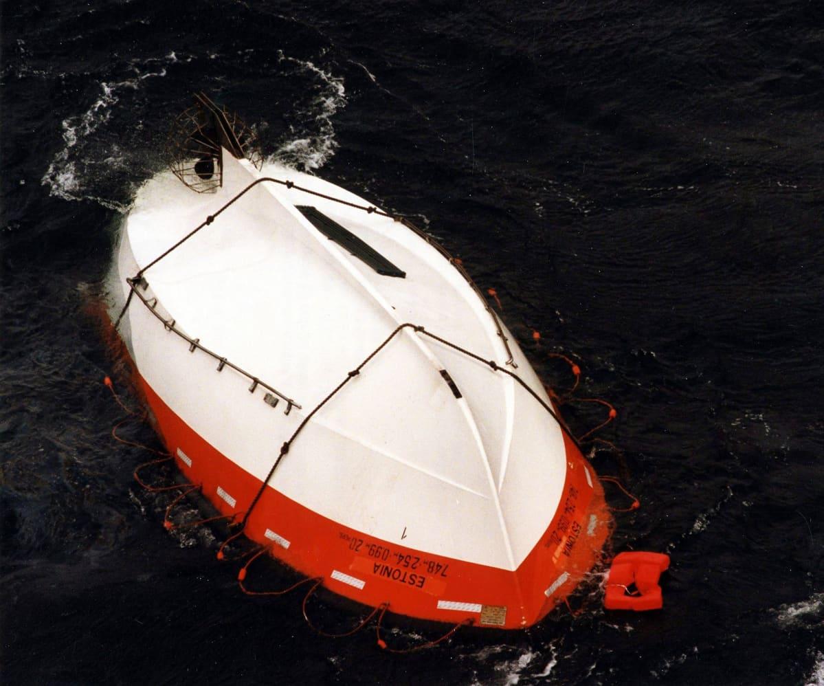 Kaatunut pelastusvene meressä.