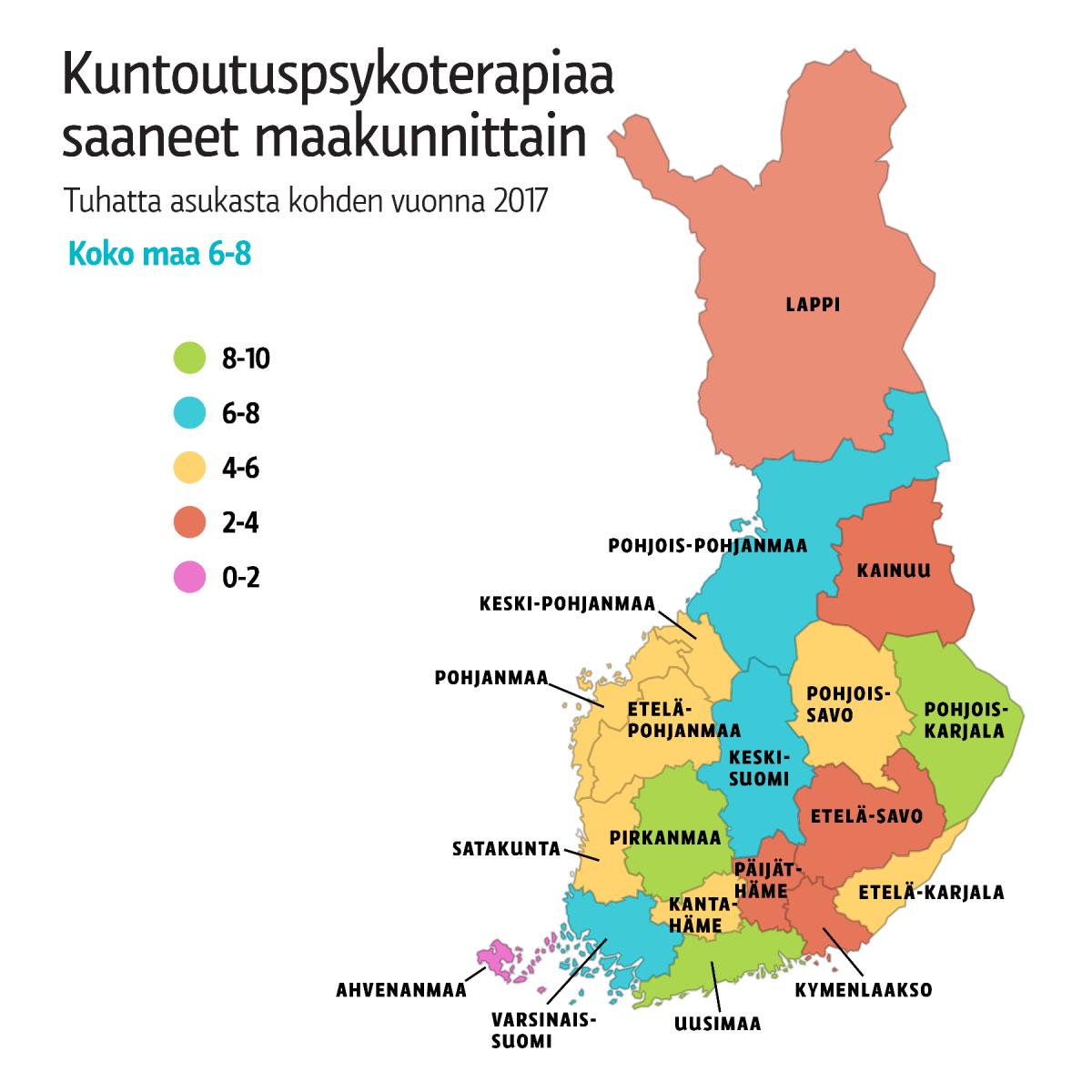 Kuntoutuspsykoterapiaa saaneet maakunnittain 2017.