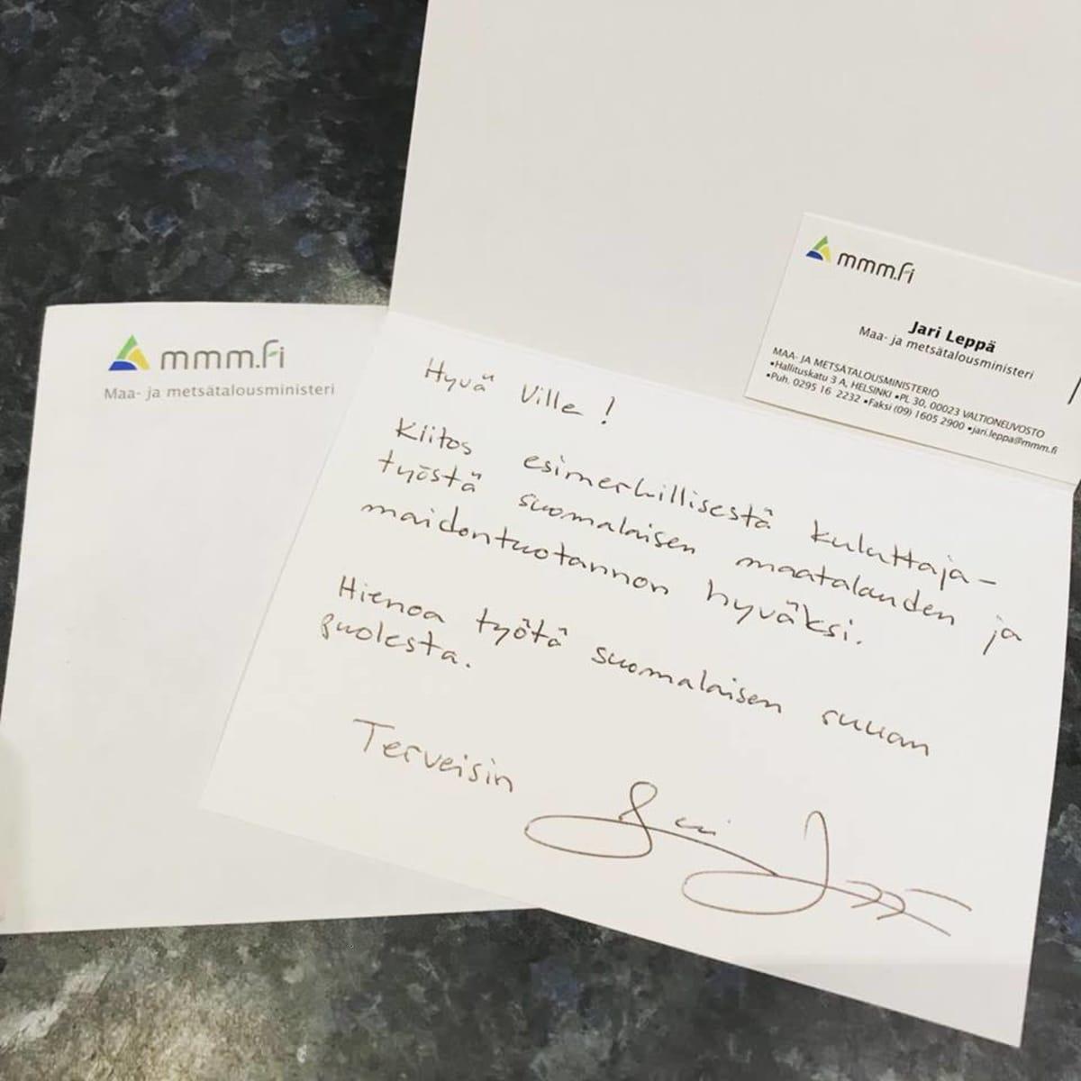 Maa- ja metsätalousministerin kiitoskirje viljelijälle