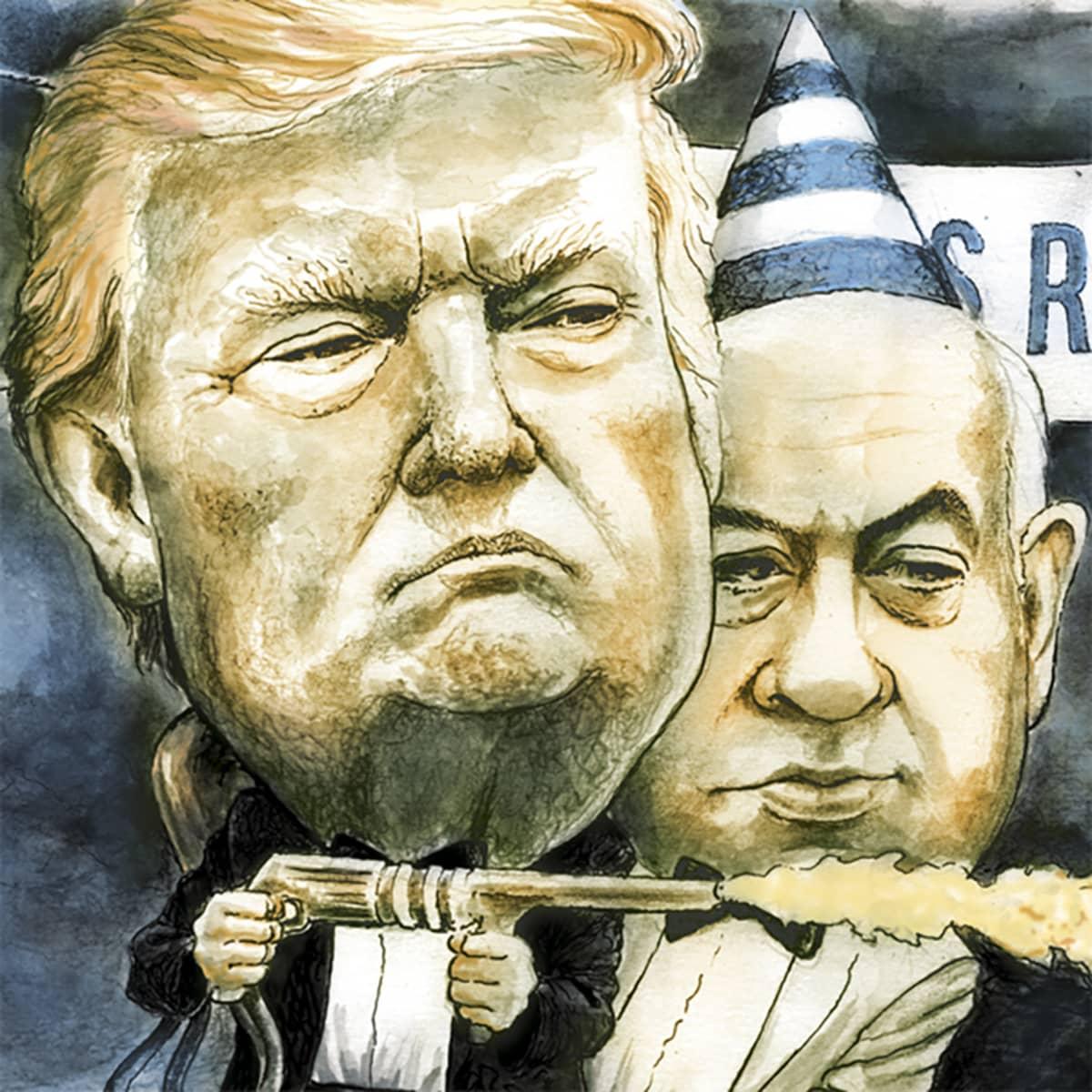 Osarajaus kuvituskuvasta, jossa Trump ja Netanjahu.