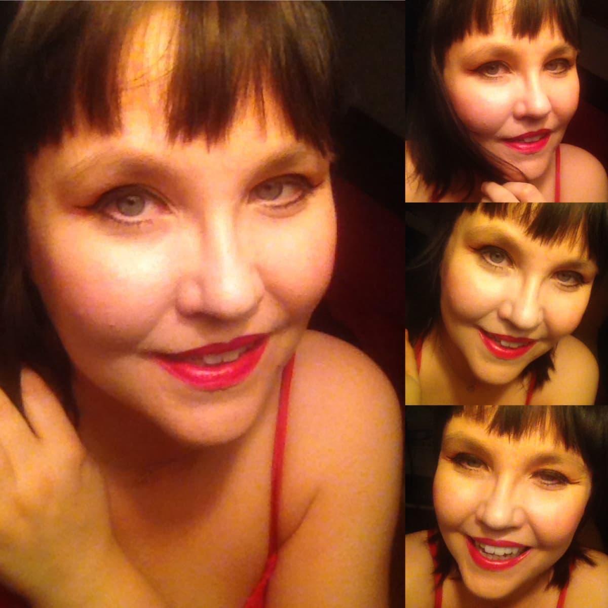 Maaria Oikarinen punaisessa juhlamekossa