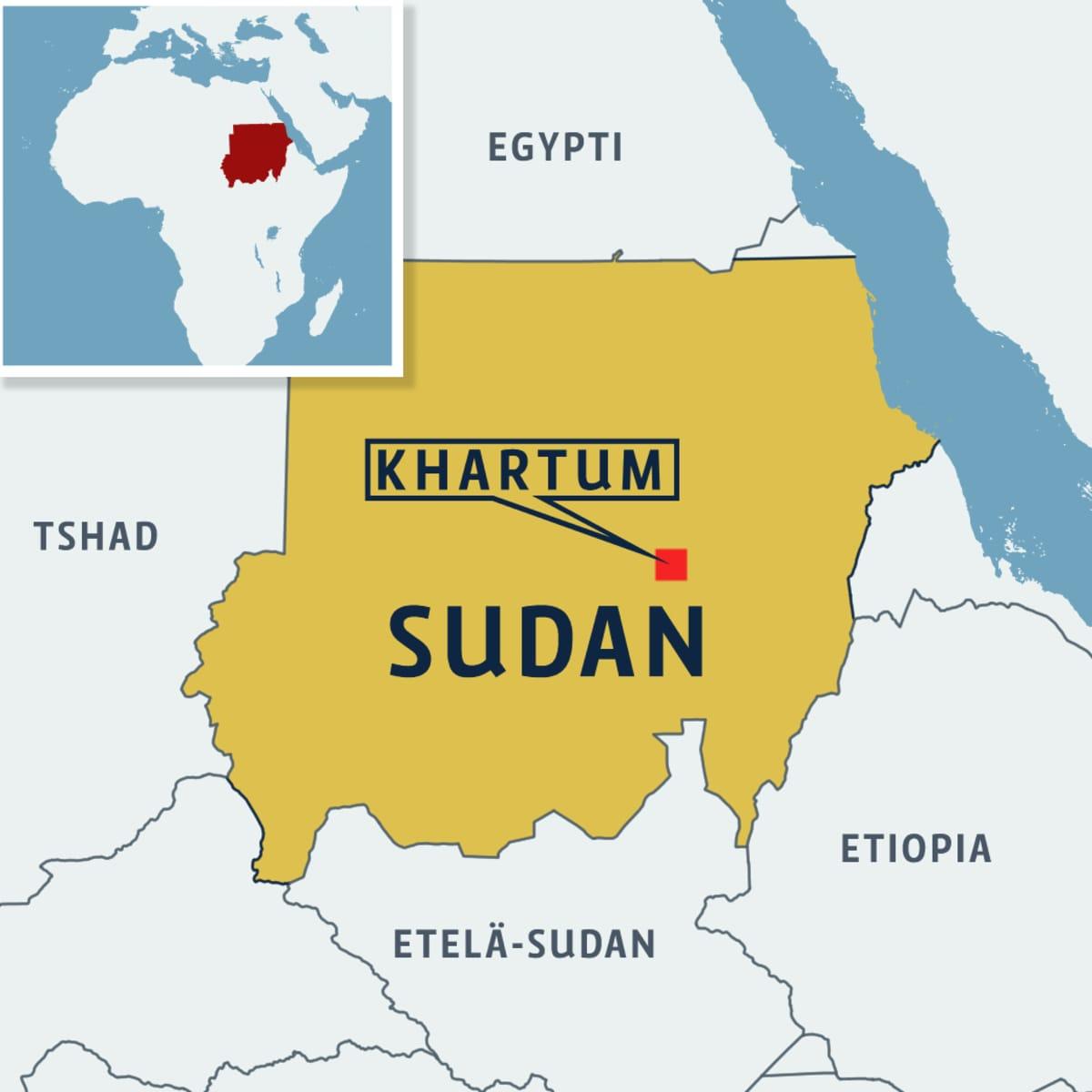 Kartta: sudan, Khartum ja naapurimaita