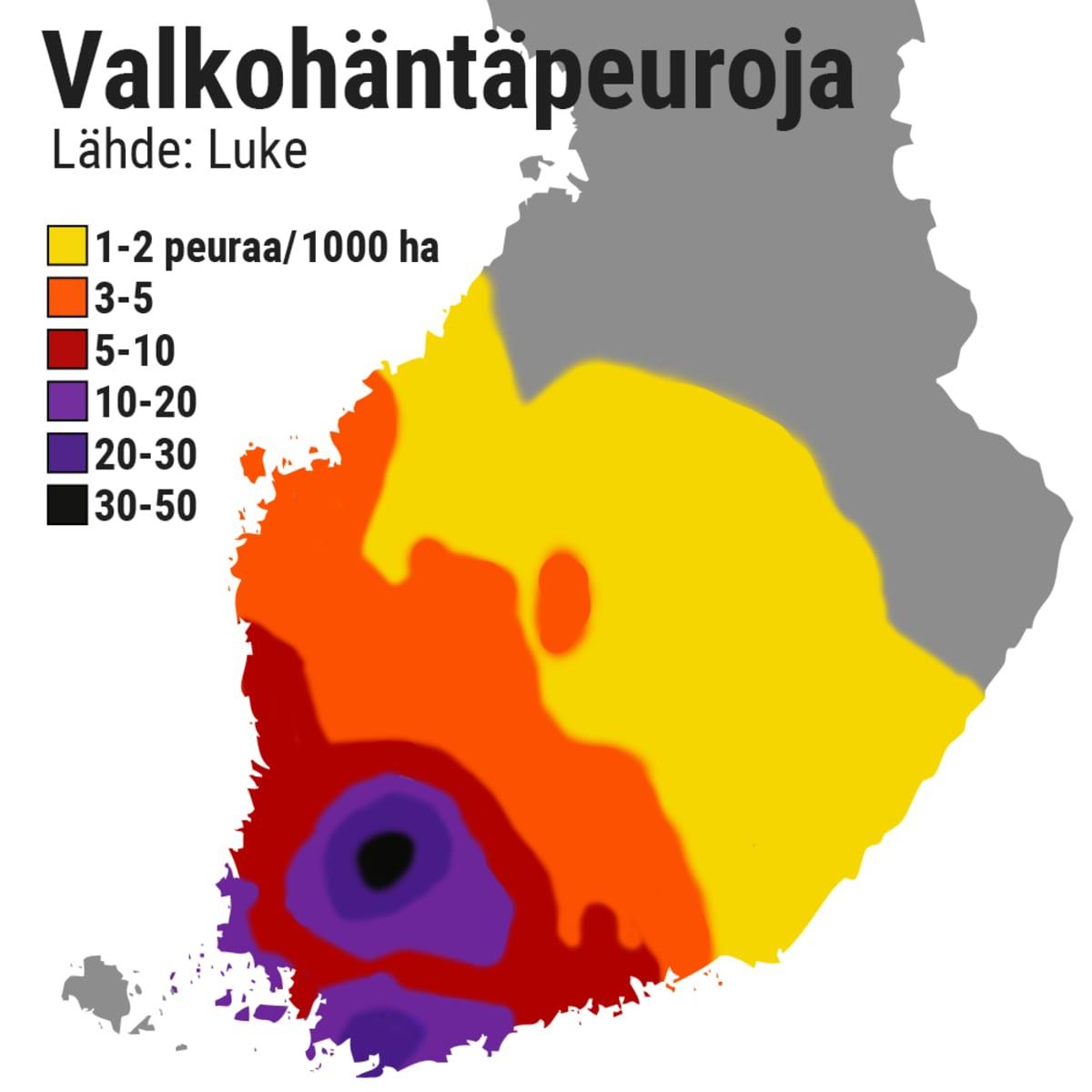 Kartta valkohäntäpeurojen levinneisyydestä.