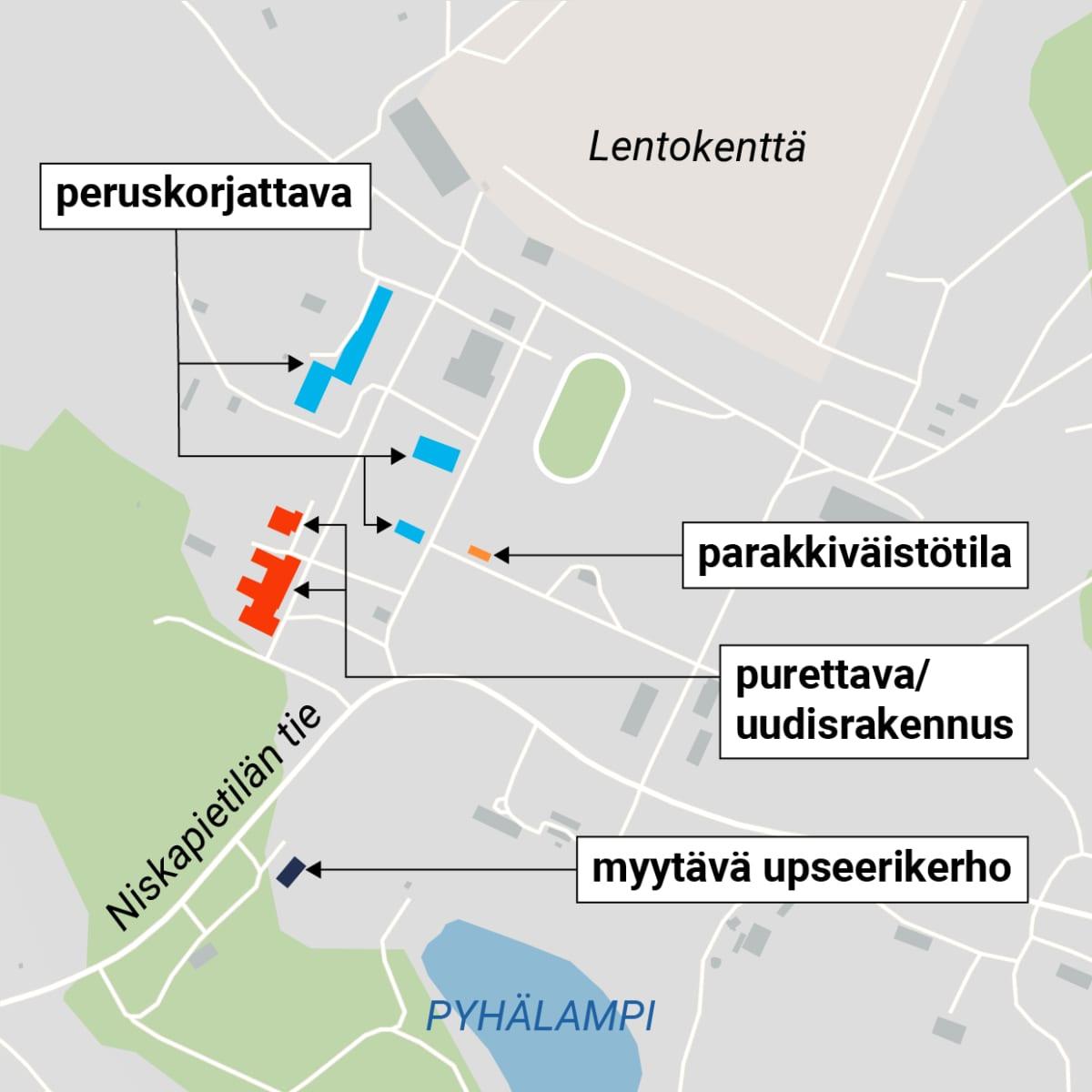 Immolan varuskunta-alueen kartta