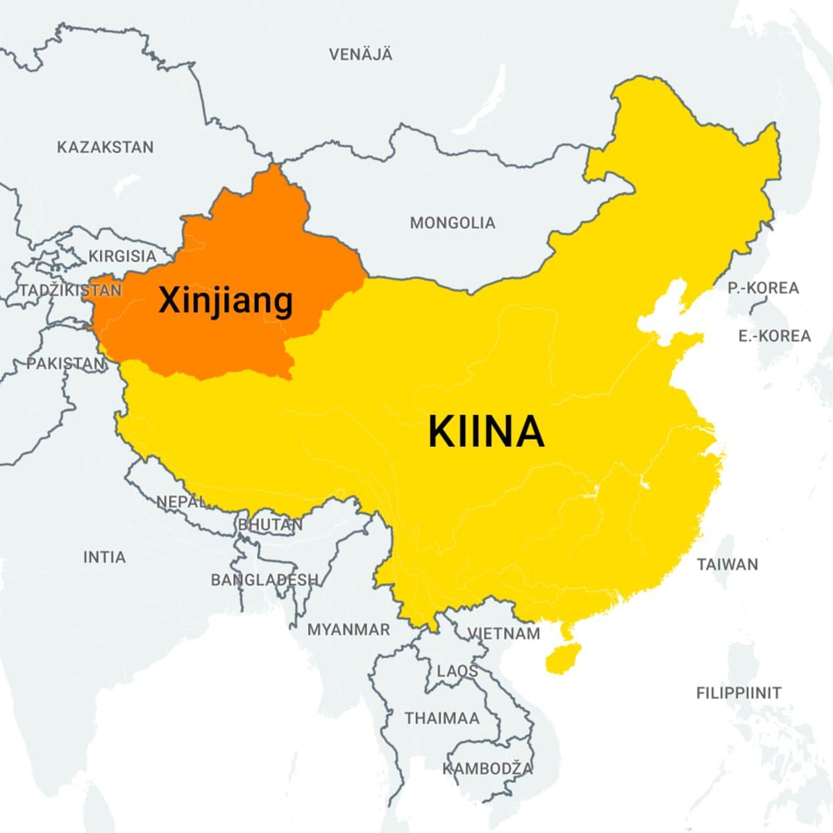 Kiinan maakunnan Xinjiangin sijainnin osoittava kartta
