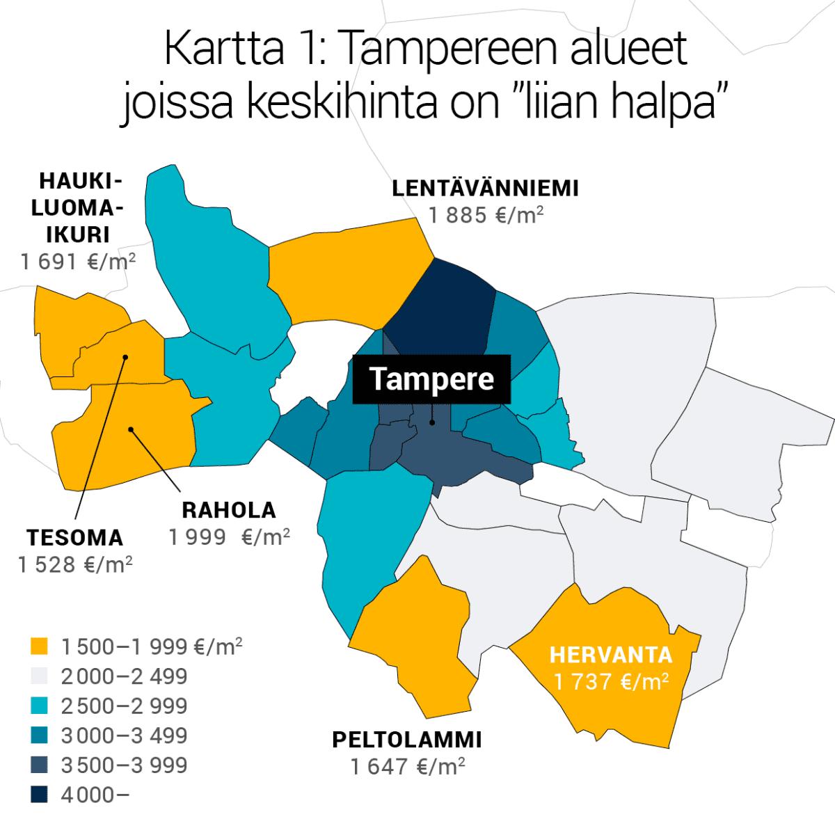 """Kartta 1: Tampereen alueet joissa keskihinta on """"liian halpa""""."""