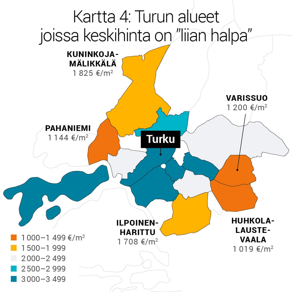 """Kartta 4: Turun alueet joissa keskihinta on """"liian halpa""""."""
