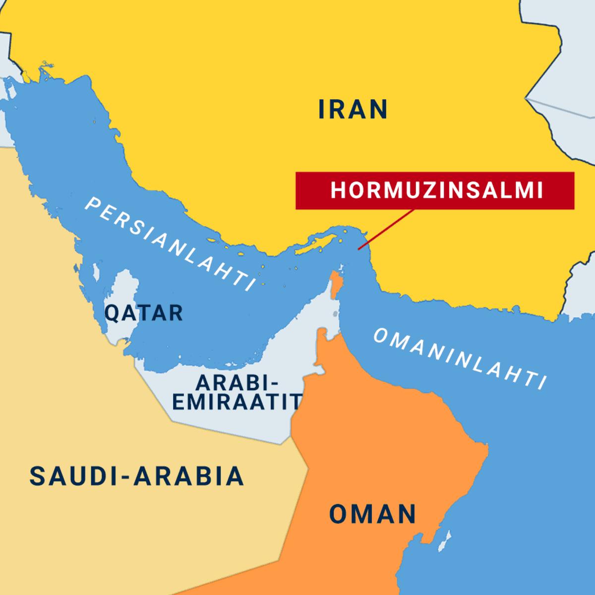 Kartta: Hormuzinsalmi ja ympäröivät maat