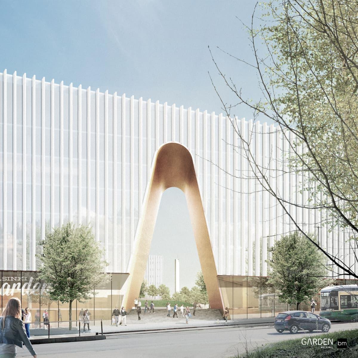 Helsinki Garden -areena muuttaa suunnitelmien mukaan näkymää Nordenskiöldinkadulta Olympiastadionin suuntaan.