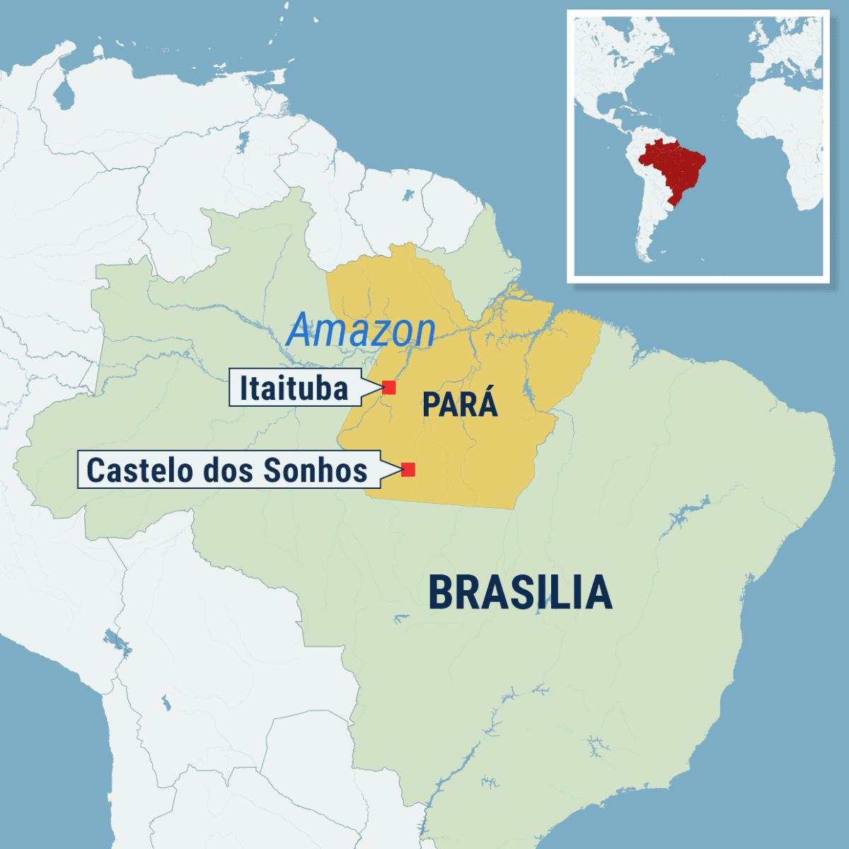 Kartta Amazonin alueelta Parán osavaltista Brasiliasta.