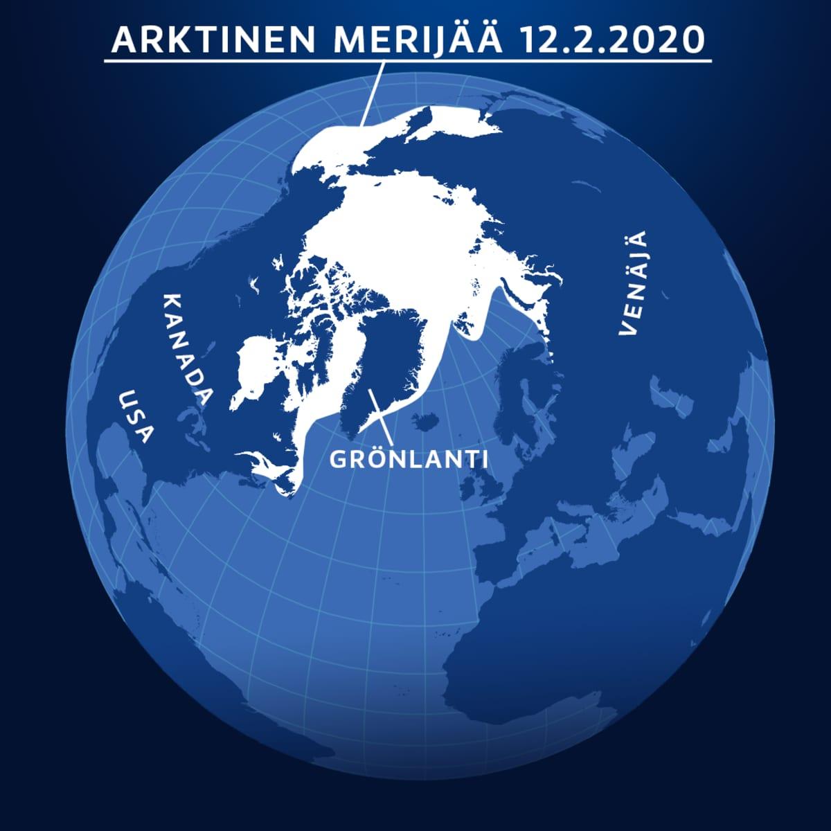 Arktisen merijään laajuus 12.2.2020