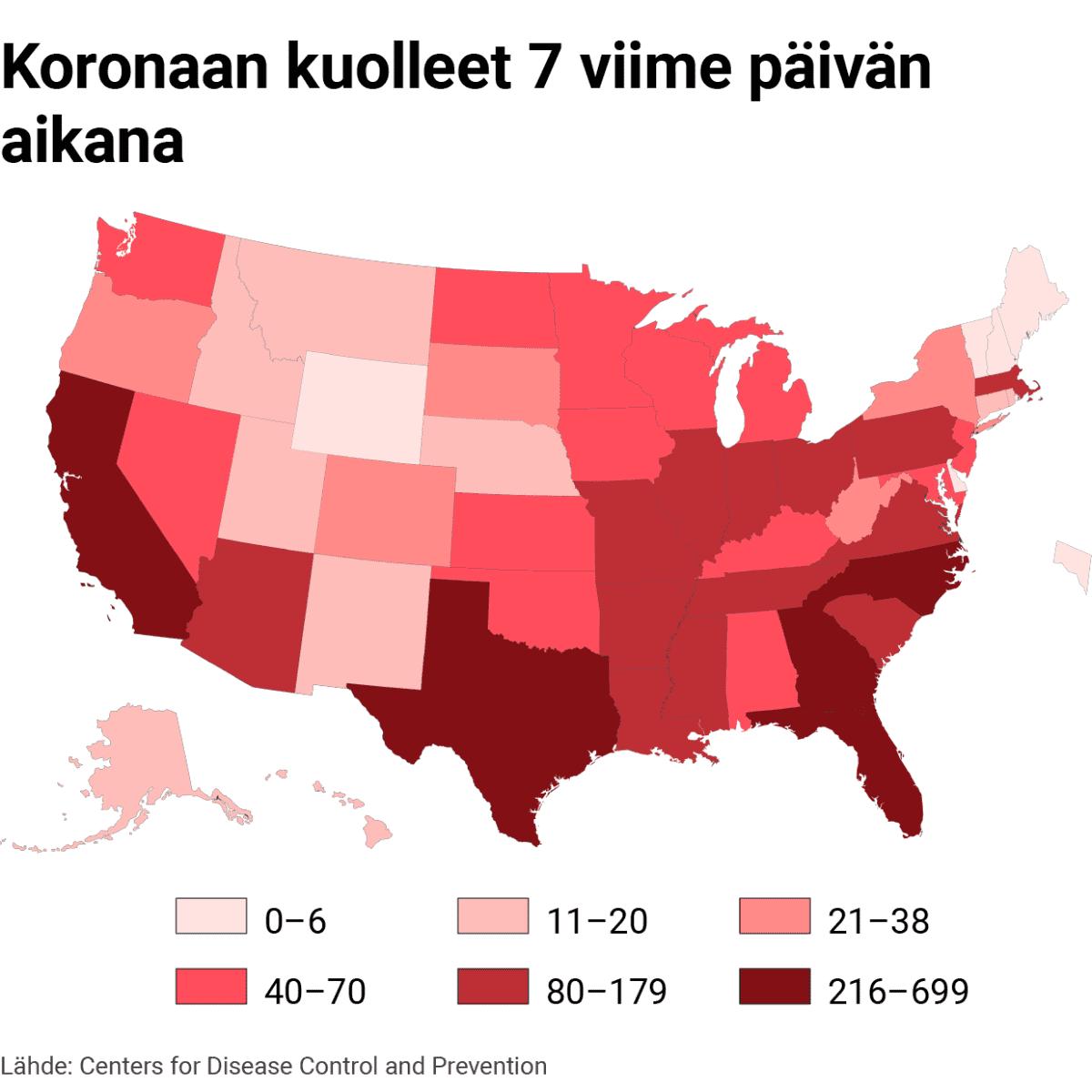 Infokartta Yhdysvalloissa koronaan kuolleista 7 viime päivän aikana.