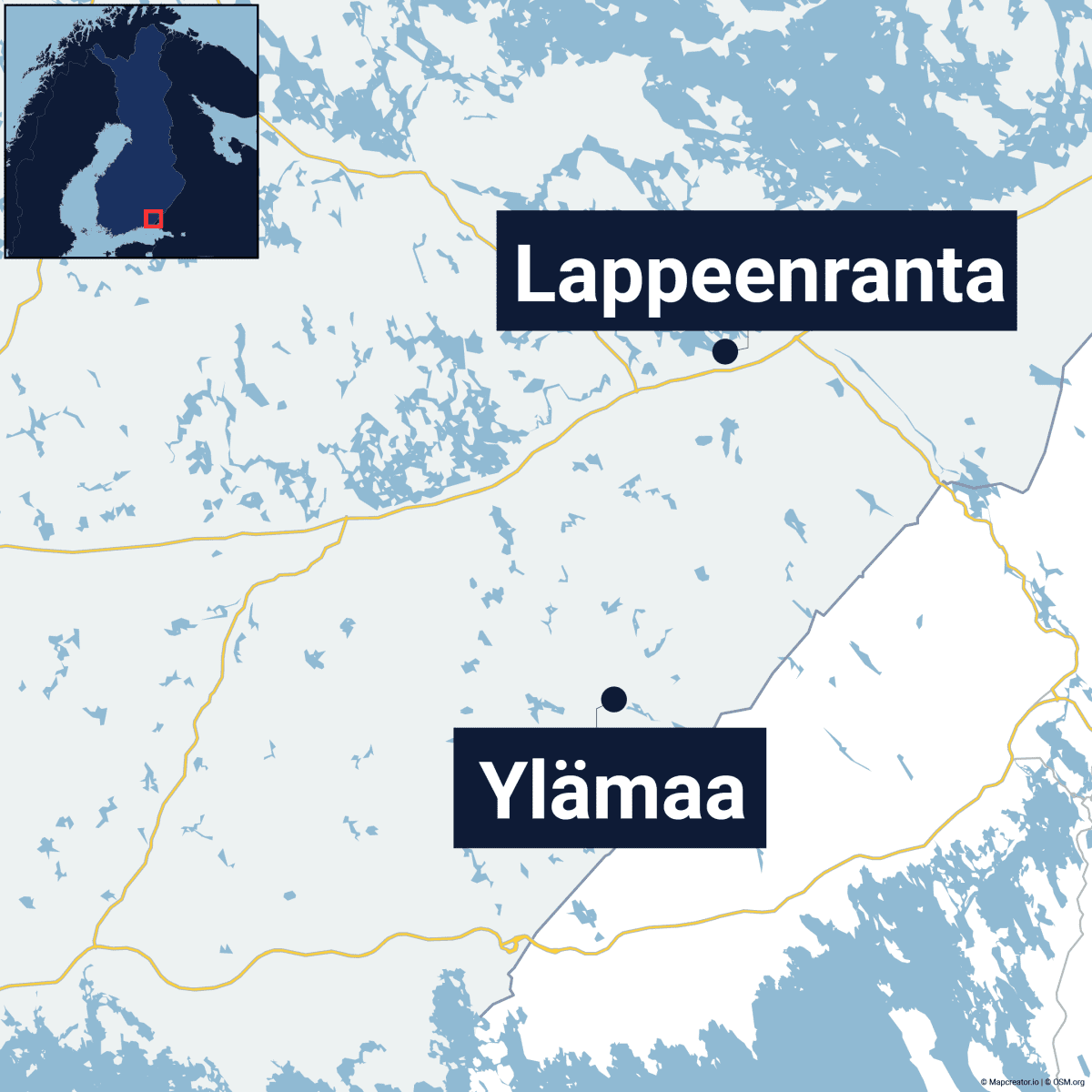 Kartta, jossa Ylämaa ja Lappeenranta.