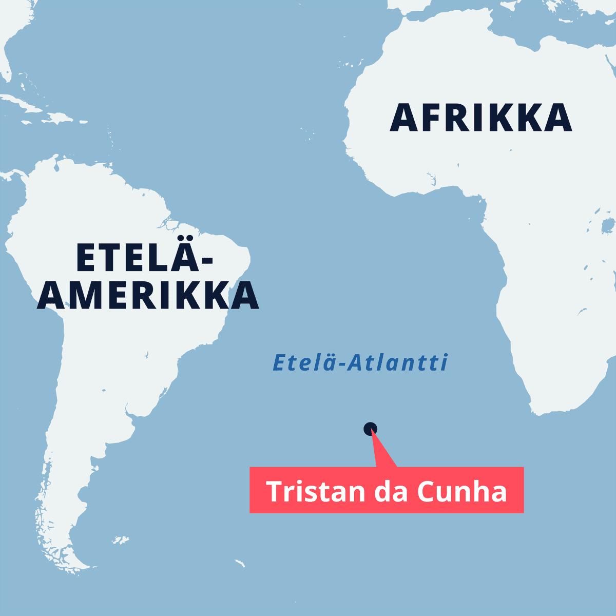 Tristan da Cunha -saari Etelä-Atlantilla.