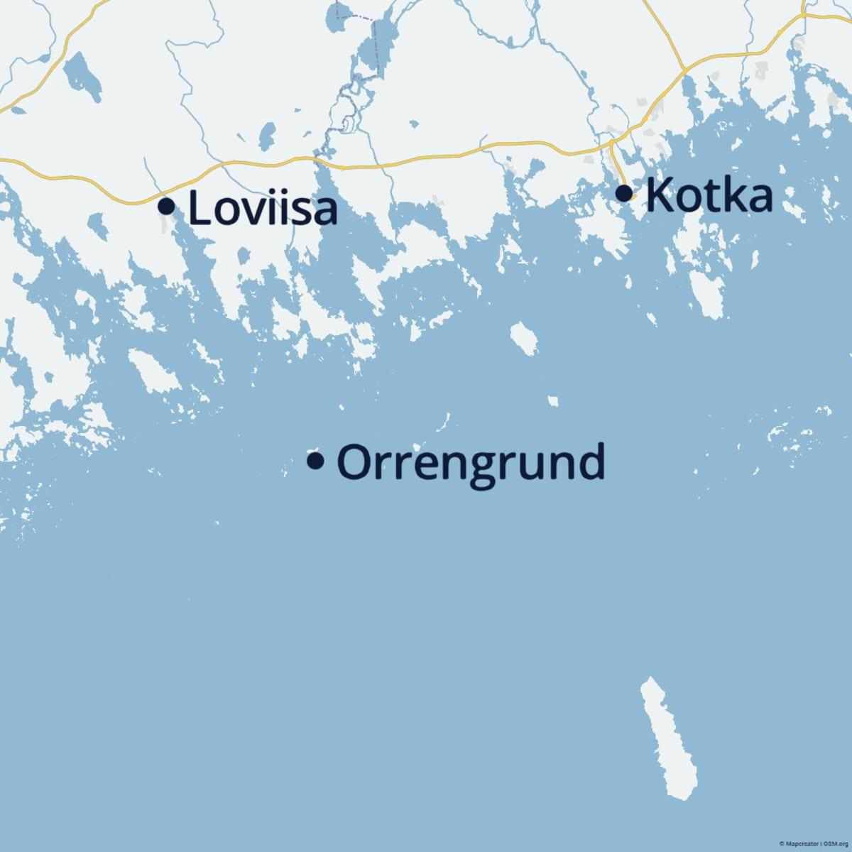 Loviisa, Kotka ja Orrengrund kartalla.