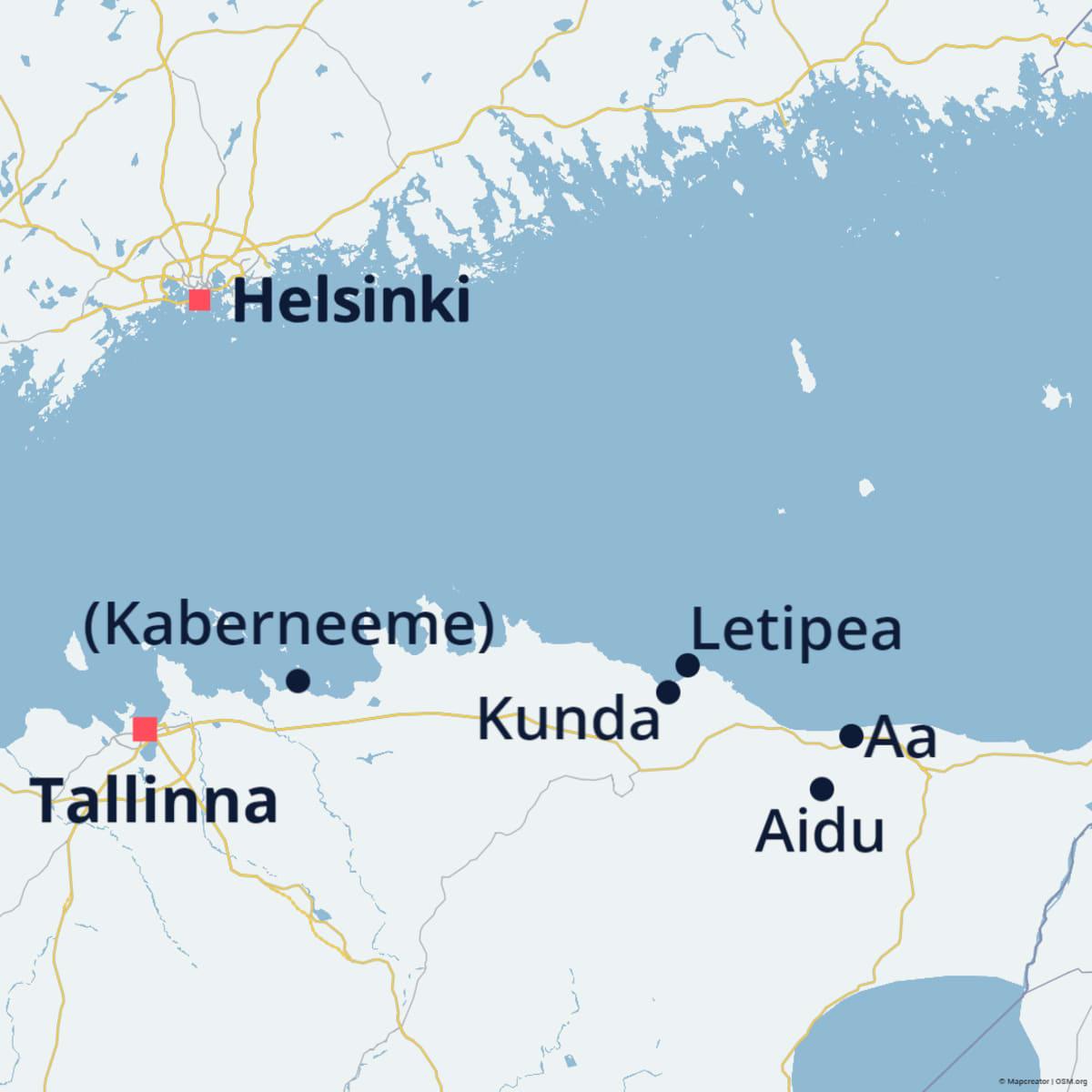 Kartalla Helsinki, Tallinna, Kaberneeme, Kunda, Letipea, Aidu ja Aa.
