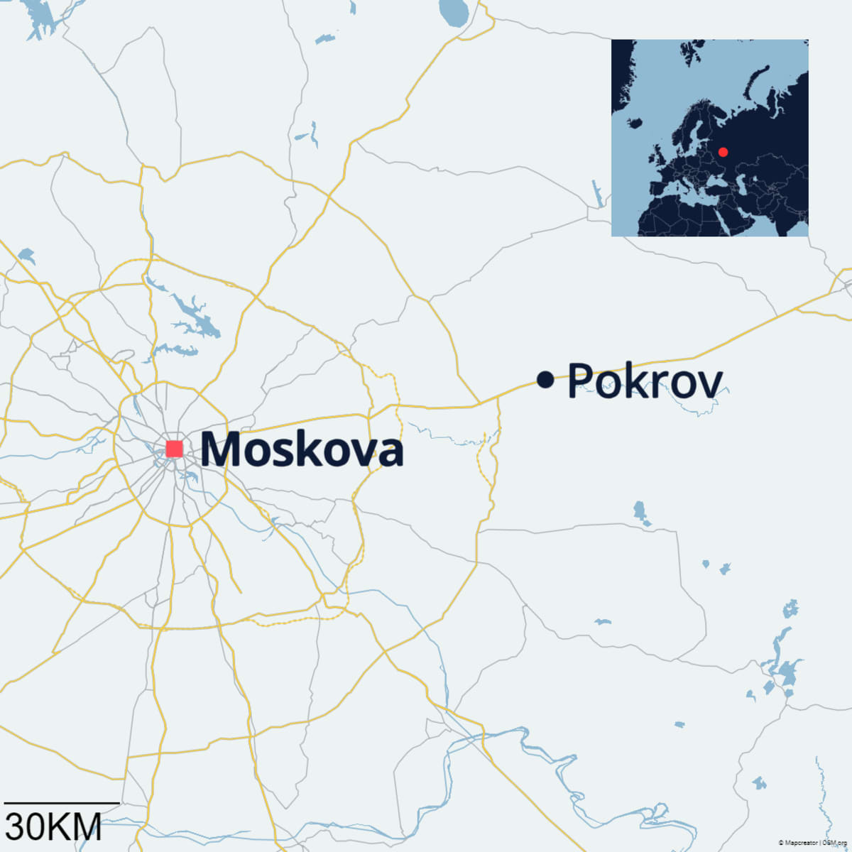 Pokrov ja Moskova kartalla