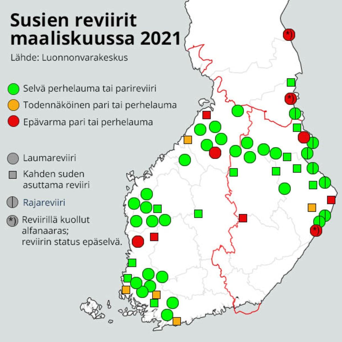 Susien reviirit Suomessa 2021.