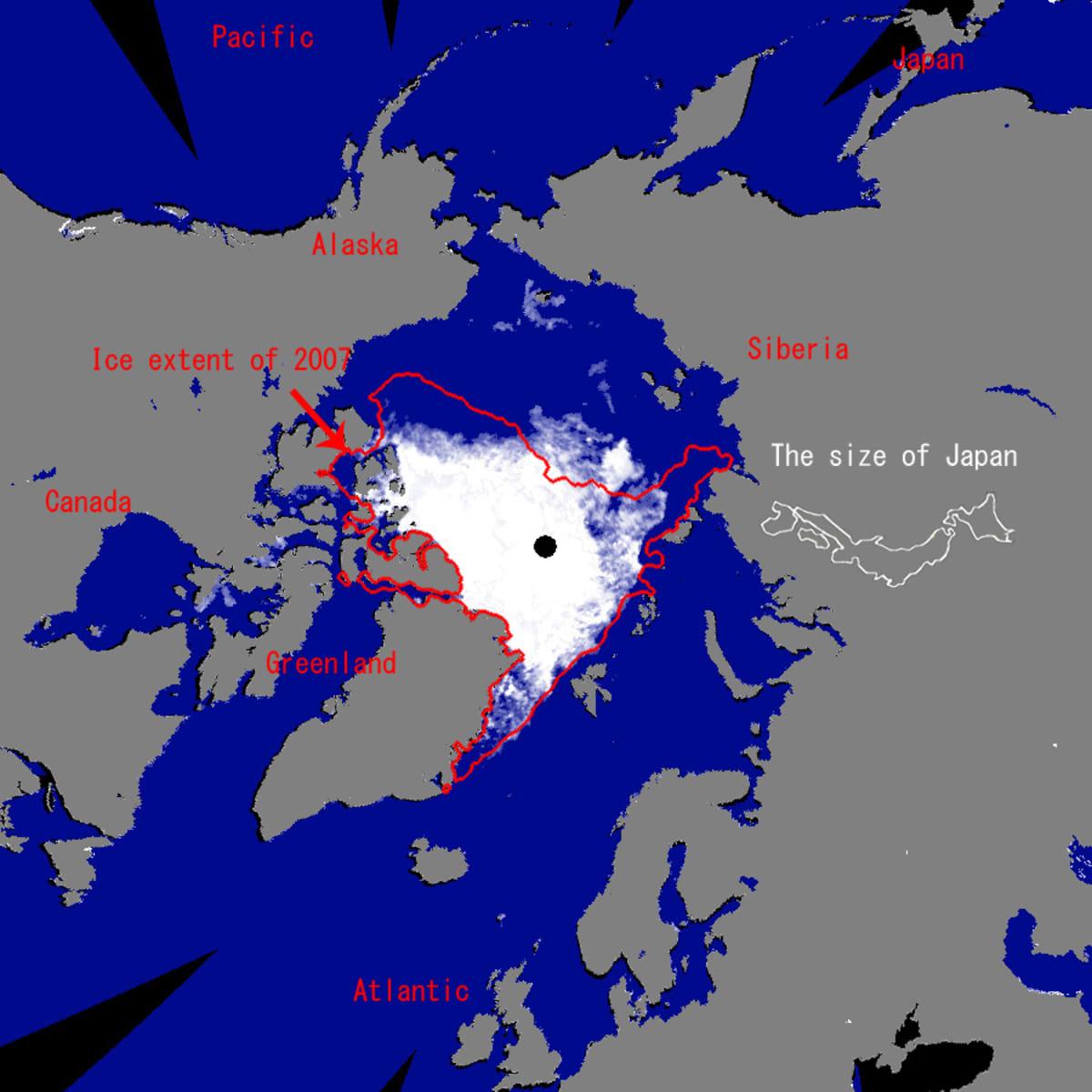Havainnekuva Pohjoisnavan jääpeitteestä.