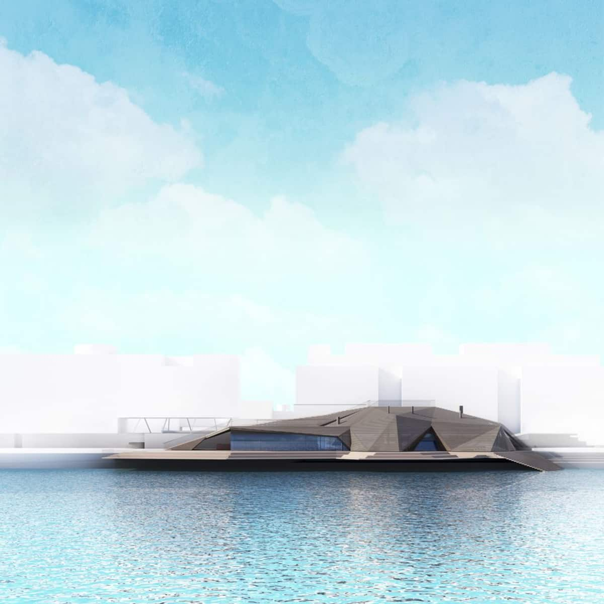 Sauna- ja ravintolarakennuksen havainnekuva mereltä päin.