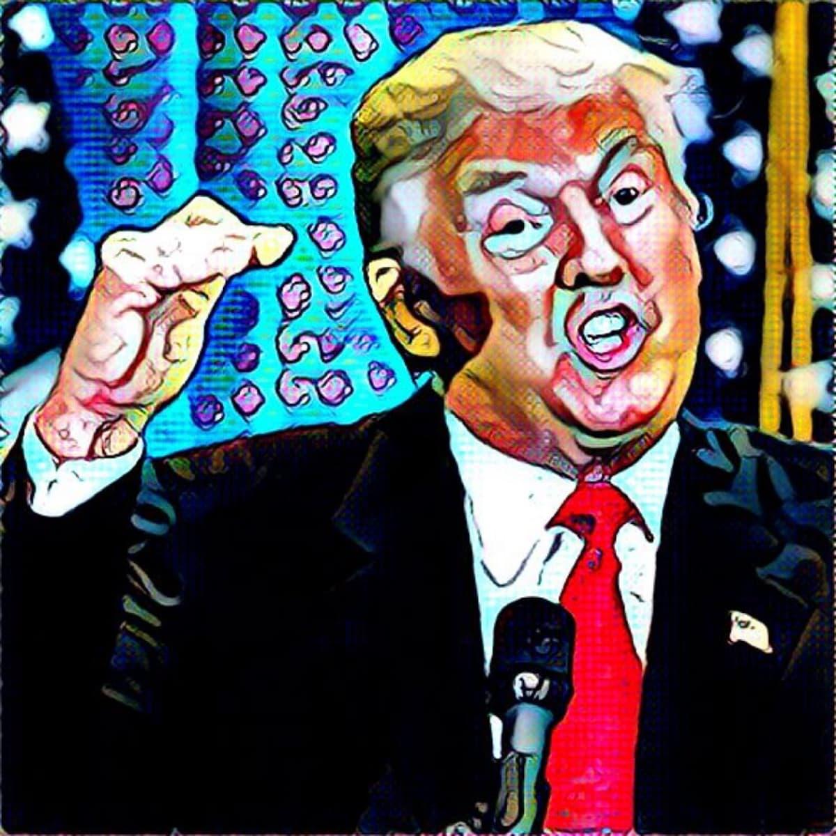 Donald Trumpia esittävä valokuva, jota on käsitelty graafiseksi.