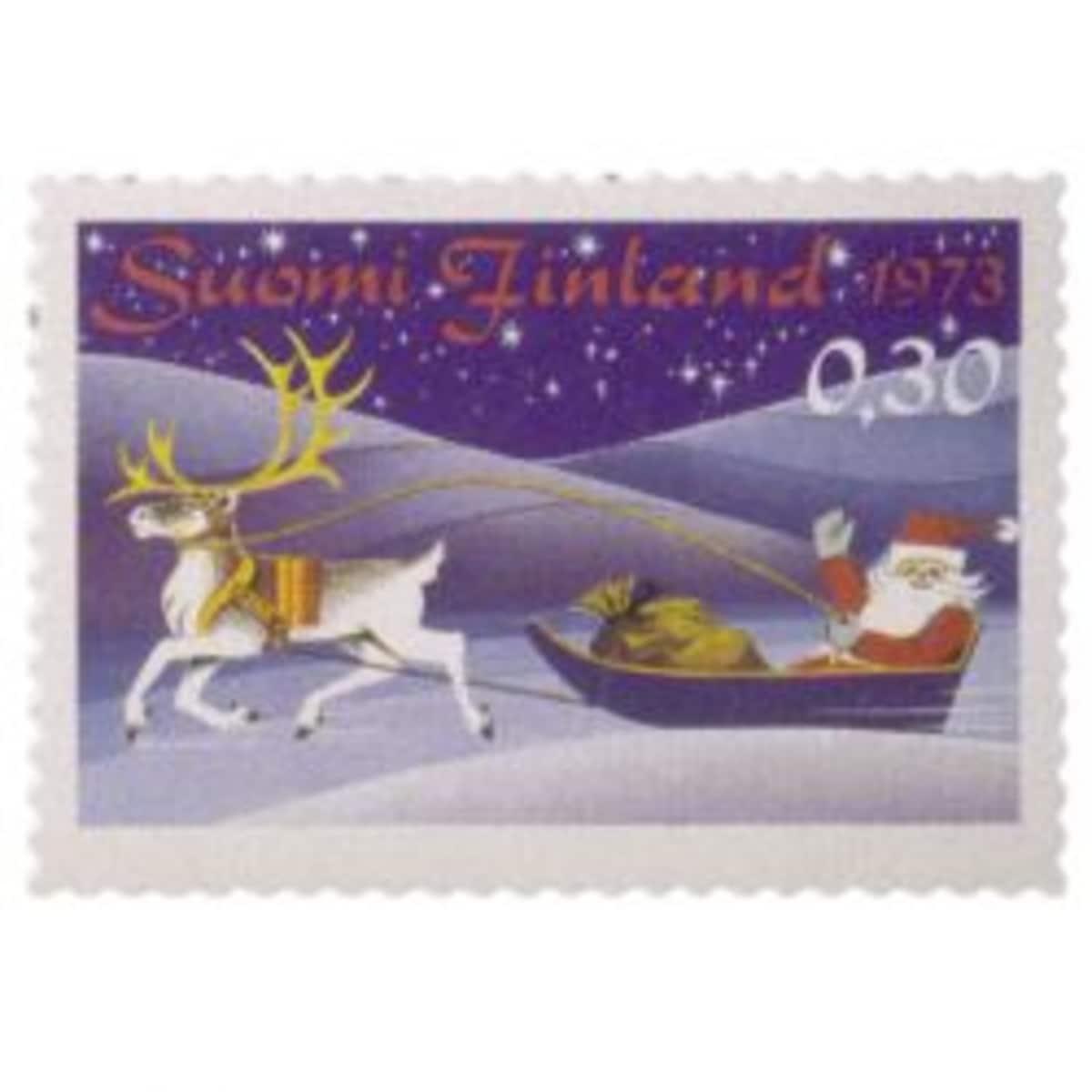 Postimerkki joulupukki reessä