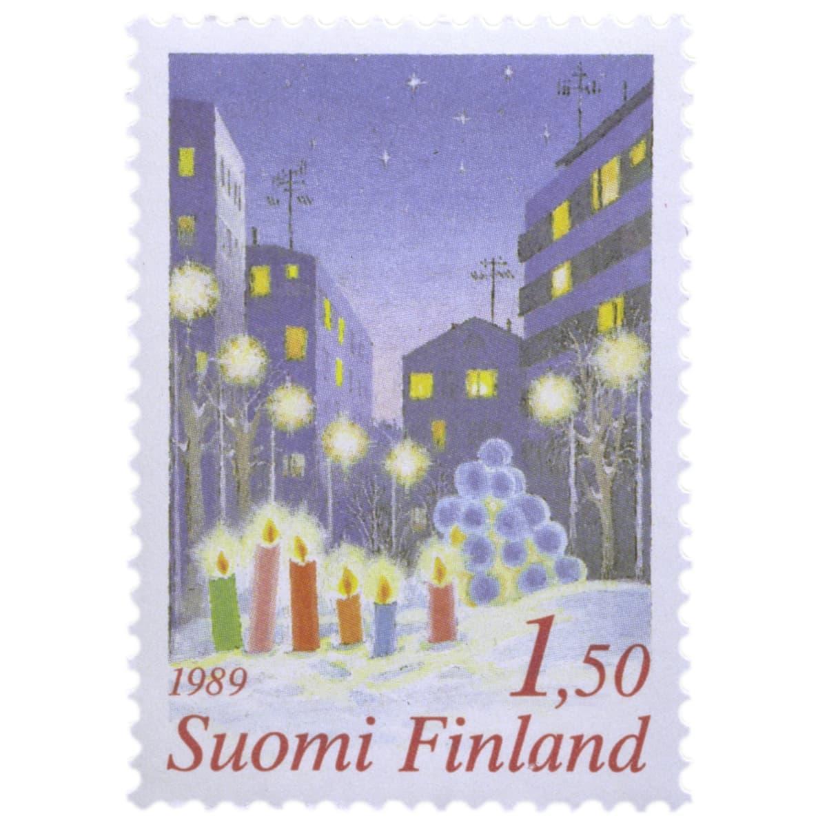 Joulupostimerkki kaupungin valot