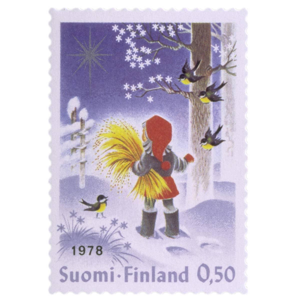 Joulupostimerkki tyttö ja lyhde