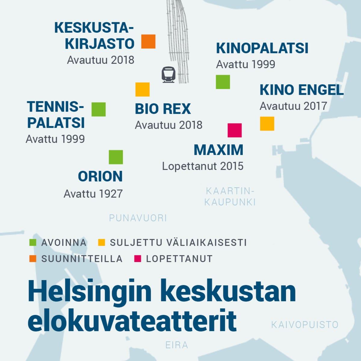Helsingin keskustan elokuvateatterit.