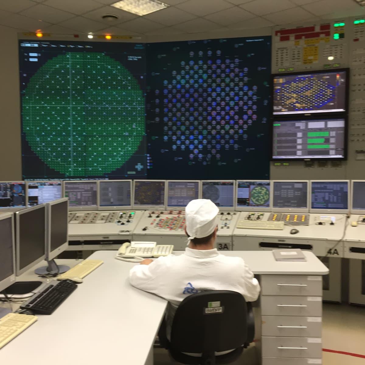LAES1:n ykkösreaktorin ohjaamon ydinpolttoainenippuja kuvaava suuri monitori on vaikuttavan näköinen.
