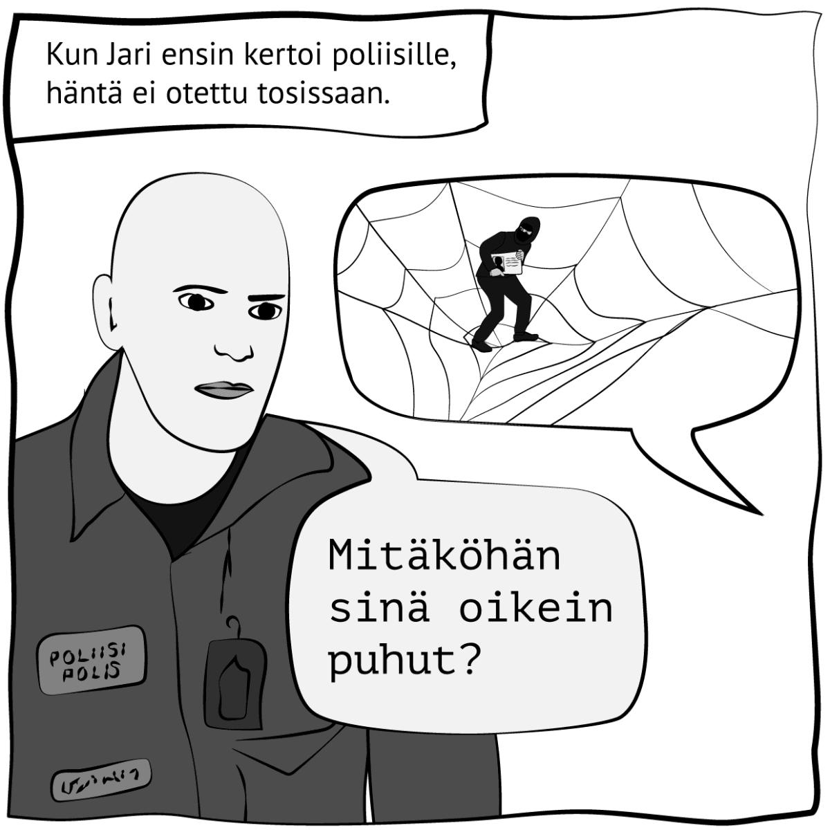 """Piirroskuva, jossa lukee: """"Kun Jari ensin kertoi poliisille, häntä ei otettu tosissaan"""". Kuva: Stina Tuominen / Yle"""