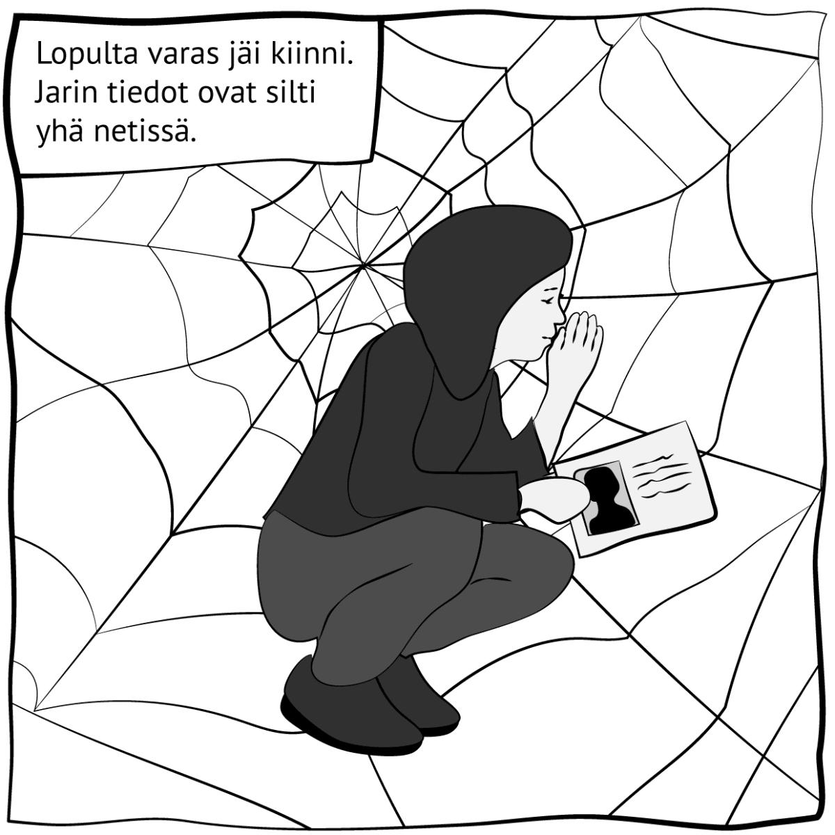 """Piirroskuva, jossa lukee """"Lopulta varas jäi kiinni. Jarin tiedot ovat silti yhä netissä."""" Kuva: Stina Tuominen / Yle"""